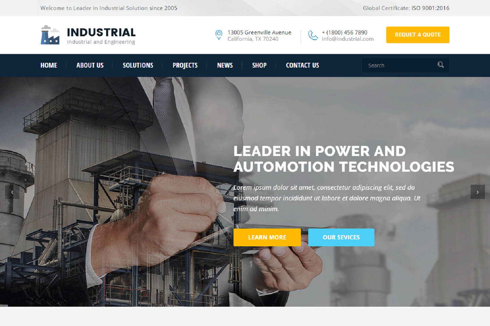 Industrial And Engineering HTML website Template free download