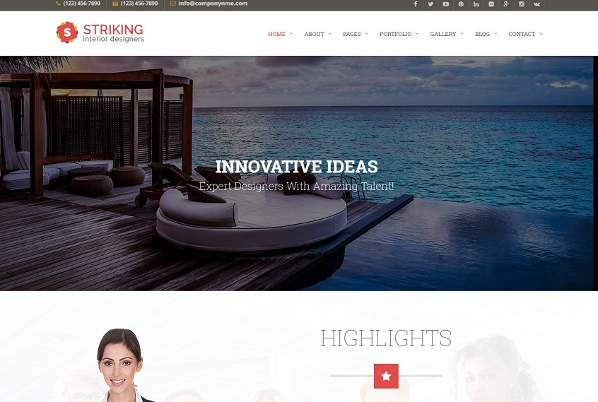 Striking Interior Design Company Website Template Free Download