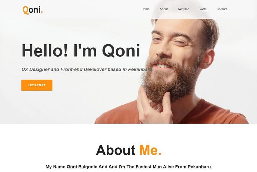 Qoni Personal Resume Html Template