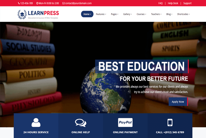 Learnpress Education Courses Html5 Website Template Free Download