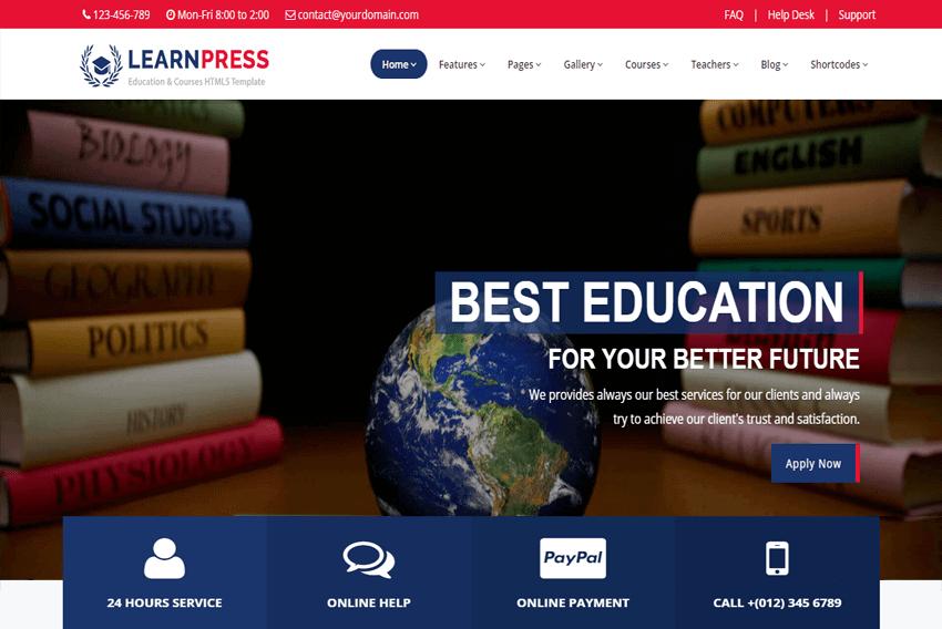 LearnPress - Education Courses HTML5 website Template Free
